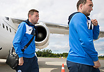 FK Trakai v St Johnstone&hellip;05.07.17&hellip; Europa League 1st Qualifying Round 2nd Leg<br />St Johnstone strikers Chris Kane and Steven MacLean step off the aircraft after landing in Vilnius, Lithuania<br />Picture by Graeme Hart.<br />Copyright Perthshire Picture Agency<br />Tel: 01738 623350  Mobile: 07990 594431