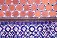 Talavera tiles of the exterior of the  Museo Casa del Alfenique, Puebla, Mexico. The historical center of Puebla is a UNESCO World Heritage Site.