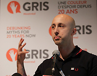 Montreal, CANADA - File Photo - Jeff Stinco of SIMPLE PLAN speak at GRIS MONTREAL News conference on September 19, 2014.