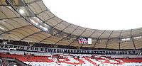 Fussball  1. Bundesliga  Saison 2015/2016  29. Spieltag  VfB Stuttgart  - FC Bayern Muenchen    09.04.2016 VfB Stuttgart Fans mit einer Choreographie in des Cannstatter Kurve in der Mercedes Benz Arena
