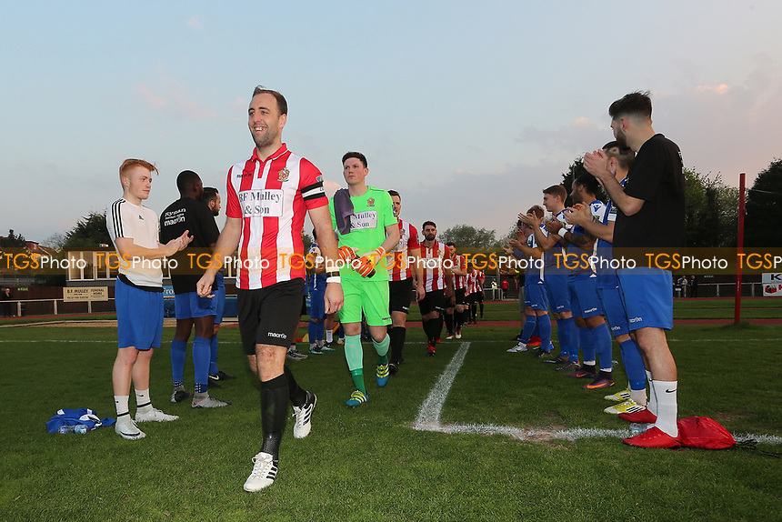 Aveley Players applaud the Hornchurch players onto the pitch during AFC Hornchurch vs Aveley, Bostik League Division 1 North Football at Hornchurch Stadium on 20th April 2018