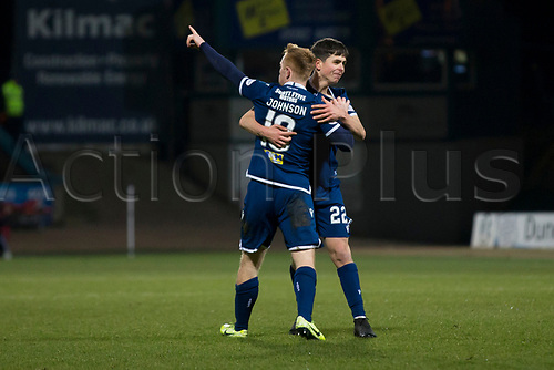 30th November 2019; Dens Park, Dundee, Scotland; Scottish Championship Football, Dundee Football Club versus Queen of the South; Danny Johnson of Dundee celebrates after scoring for 1-1 with Callum Moore - Editorial Use