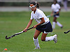 Emma Wong #1 of Baldwin moves the ball downfield during a Nassau County Conference I varsity field hockey match against New Hyde Park at Baldwin High School on Wednesday, Sept. 28, 2016. She scored the second of Baldwin's two goals in the second half in the Lady Bruins' 2-0.