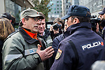 Javier Galan leader of the trade union section of CC.OO. In Navantia Ferrol  accompanies the workers of the company Navantia, during the protest in the headquarters of the Sepi in Madrid, Spain. March 14, 2017. (ALTERPHOTOS / Rodrigo Jimenez)