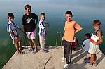 Pogradec-Albania - August 02, 2004---Boys at Lake Ohrid; region/village of project implementation by GTZ-Wiram-Albania (German Technical Cooperation, Deutsche Gesellschaft fuer Technische Zusammenarbeit (GTZ) GmbH); portrait-people---Photo: Horst Wagner/eup-images