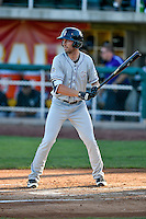 Vince Fernandez (8) of the Grand Junction Rockies at bat against the Orem Owlz in Pioneer League action at Home of the Owlz on July 7, 2016 in Orem, Utah. The Owlz defeated the Rockies 15-3. (Stephen Smith/Four Seam Images)