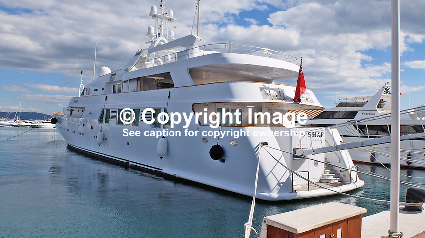 Shaf, luxury yacht, registered in UK, owned by the new Saudi Arabia king, King Salman, at its moorings in Puerto Banus, Spain. King Salman has been a frequent visitor to the Costa del Sol over many years. 201502060394 <br />