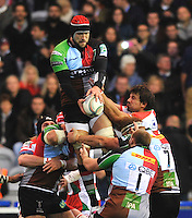 Heineken Cup. George Robson of Harlequins wins the line out during the Heineken Cup Pool 3 match between Harlequins and Biarritz Olympique at Twickenham Stoop on October 13, 2012 in London, England.