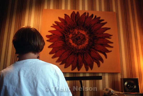 Laura Nelson and sunflower art.<br />