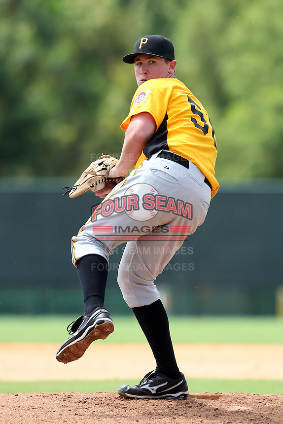 GCL Pirates relief pitcher Joseph Parsons #50 delivers a pitch during a game against the GCL Braves at Disney Wide World of Sports on June 25, 2011 in Kissimmee, Florida.  The Pirates defeated the Braves 5-4 in ten innings.  (Mike Janes/Four Seam Images)
