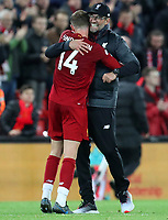 27th October 2019; Anfield, Liverpool, Merseyside, England; English Premier League Football, Liverpool versus Tottenham Hotspur;  Liverpool manager Jurgen Klopp hugs Jordan Henderson of Liverpool after the final whistle - Strictly Editorial Use Only. No use with unauthorized audio, video, data, fixture lists, club/league logos or 'live' services. Online in-match use limited to 120 images, no video emulation. No use in betting, games or single club/league/player publications