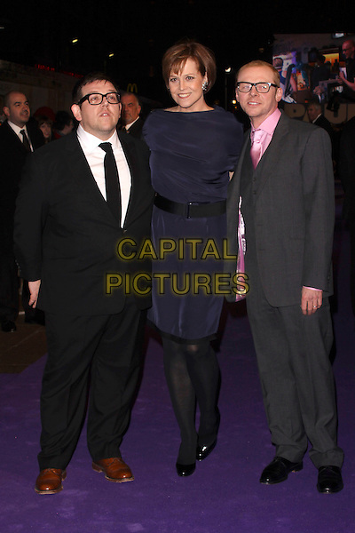 "NICK FROST, SIGOURNEY WEAVER & SIMON PEGG.Attending the ""Paul"" UK Film Premiere, Empire Cinema, Leicester Square, London, England, UK, .7th February 2011..full length suit dress glasses pink shirt tie white black navy blue smiling tights grey gray shoes .CAP/AH.©Adam Houghton/Capital Pictures."
