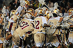 April 27, 2012:  #16 Denver players celebrate their victory over #4 Duke during the Whitman's Sampler Mile High Classic, Sports Authority Field at Mile High, Denver, CO.  #16 Denver defeats #4 Duke 15-9.