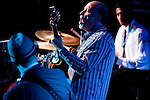BROOKLYN  -- MARCH 08, 2011:  John Scofield (C) performs with Eric Krasno (L), and Alan Evans (R) during night 6 of Soulive's Bowlive performance at the Brooklyn Bowl on March 08, 2011 in Brooklyn.  (PHOTOGRAPHS BY MICHAEL NAGLE)