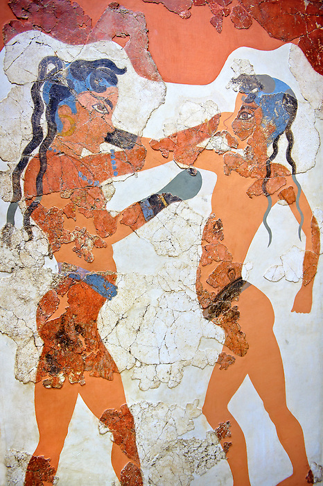 """Minoan Fresco wall painting of """" Boxing Youths""""  from Minoan Bronze Age settlement  of Akrotiri on the Greek island of Thira, Santorini, Greece. . Athens Archaeological Museum."""