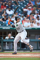 Ryan Mountcastle (20) of the Norfolk Tides at bat against the Charlotte Knights at BB&T BallPark on July 5, 2019 in Charlotte, North Carolina. The game was suspended in the bottom of the first inning due to wet grounds. (Brian Westerholt/Four Seam Images)