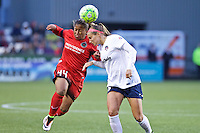 Portland, Oregon - Saturday May 21, 2016: The Portland Thorns Meg Morris (44) and Washington Spirits Shelina Zardorsky (6) during a regular season NWSL match at Providence Park. The Thorns won 4-1.