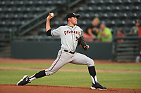 Delmarva Shorebirds starting pitcher Grayson Rodriguez (36) delivers a pitch during game one of the Northern Division, South Atlantic League Playoffs against the Hickory Crawdads at L.P. Frans Stadium on September 4, 2019 in Hickory, North Carolina. The Crawdads defeated the Shorebirds 4-3 to take a 1-0 lead in the series. (Tracy Proffitt/Four Seam Images)