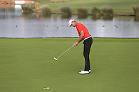 Robert Karlsson (SWE) putts on the 14th green during Thursday's Round 1 of the 2016 Portugal Masters held at the Oceanico Victoria Golf Course, Vilamoura, Algarve, Portugal. 19th October 2016.<br /> Picture: Eoin Clarke | Golffile<br /> <br /> <br /> All photos usage must carry mandatory copyright credit (&copy; Golffile | Eoin Clarke)