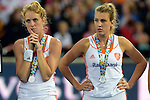 ENG - London, England, August 30: Players of The Netherlands look dejected after loosing the final of the Unibet EuroHockey 2015 geld medal match against England on August 30, 2015 at Lee Valley Hockey and Tennis Centre, Queen Elizabeth Olympic Park in London, England. Final score 2-2 (3-1 SO). (Photo by Dirk Markgraf / www.265-images.com) *** Local caption *** (l-r) Willemijn BOS #7 of The Netherlands, Valerie MAGIS #31 of The Netherlands