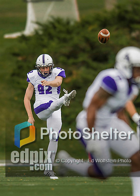 8 October 2016: Amherst College Purple & White Punter Henry Atkeson, a First Year from Raleigh, NC, punts on 4th down during a game against the Middlebury College Panthers at Alumni Stadium in Middlebury, Vermont. The Panthers edged out the Purple & While 27-26. Mandatory Credit: Ed Wolfstein Photo *** RAW (NEF) Image File Available ***