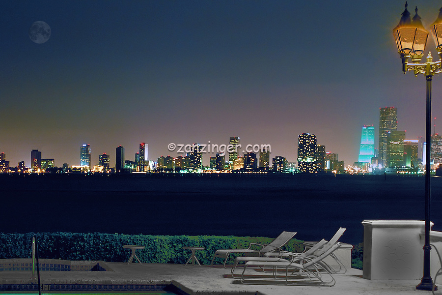Fisher Island, Miami, Florida, Miami Skyline, Night, Tall Buildings, computer, Composite, CGI