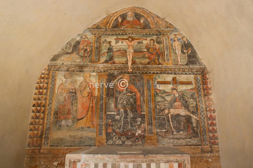 France, Alpes-Maritimes (06), Clans, chapelle Saint-Michel, les fresques // France, Alpes Maritimes, Clans, chapel St. Michel, the frescoes