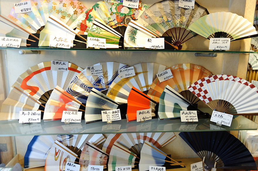 Folding fans on display in Bunsendo fan shop, Asakusa, Tokyo, Japan, August 28, 2011. Sensoji is one of the oldest temples in Tokyo, and the shopping arcades around it have sold visitors souvenirs for centuries.