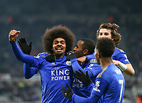 1st January 2020; St James Park, Newcastle, Tyne and Wear, England; English Premier League Football, Newcastle United versus Leicester City; Hamza Choudhury of Leicester City celebrates with Ricardo Pereira Demarai Gray and Çaglar Soyuncu of Leicester City after he scores in the 87th minute to make it 0-3 - Strictly Editorial Use Only. No use with unauthorized audio, video, data, fixture lists, club/league logos or 'live' services. Online in-match use limited to 120 images, no video emulation. No use in betting, games or single club/league/player publications