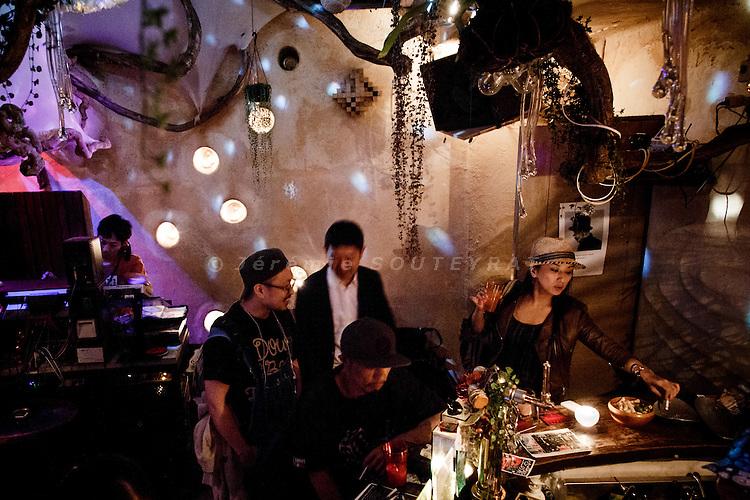 Tokyo, June 5 2013 - Main dancing space at Bar Bonobo in the Harajuku area.