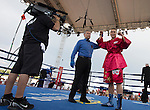 Heavyweight Zhang Zhilei from Henan Province, China, defeated Curtis Lee Tate from Memphis Tenn. during the Rural Rumble on Friday night, August 8, 2014 at Churchill County Fairgrounds in Fallon, Nevada.