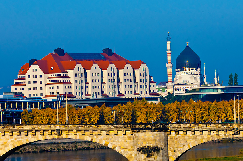 The Maritim Hotel and Yenidze (former tobacco factory that looks like but is not a mosque) along the Elbe River, Dresden, Saxony, Germany