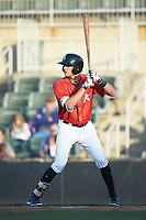 Craig Dedelow (14) of the Kannapolis Intimidators at bat against the Lakewood BlueClaws at Kannapolis Intimidators Stadium on April 5, 2018 in Kannapolis, North Carolina.  The Intimidators defeated the BlueClaws 4-3.  (Brian Westerholt/Four Seam Images)