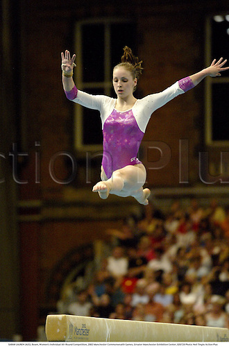 SARAH LAUREN (AUS), Beam, Women's Individual All-Round Competition, 2002 Manchester Commonwealth Games, Greater Manchester Exhibition Center, 020728 Photo: Neil Tingle/Action Plus...Gymnastic gymnast gymnastics woman.centre