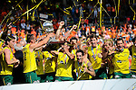 The Hague, Netherlands, June 15: The defending champions of Australia celebrate the win of the second world cup in a row during the prize giving ceremony on June 15, 2014 during the World Cup 2014 at Kyocera Stadium in The Hague, Netherlands. (Photo by Dirk Markgraf / www.265-images.com) *** Local caption ***