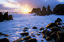 Australia, Victoria, Phillip Island, Cape Wollamai in stormy weather, The Pinnacles rocky outcrops