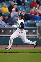Dayton Dragons shortstop Luis Gonzalez (2) running the bases during a game against the Great Lakes Loons on May 21, 2015 at Fifth Third Field in Dayton, Ohio.  Great Lakes defeated Dayton 4-3.  (Mike Janes/Four Seam Images)
