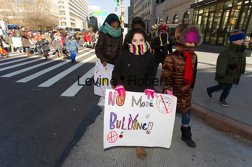 Students re-enact Martin Luther King Jr.'s 1963 March on Washington on Friday, January 20, 2012.  Public school students from P.S. 261 marched to Brooklyn Borough Hall in downtown Brooklyn in New York to celebrate the national holiday.  (© Frances M. Roberts)