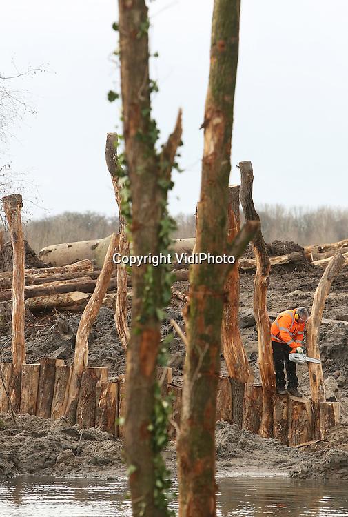 Foto: VidiPhoto<br /> <br /> SLIJK EWIJK - Waar deze zomer nog de ziekte van Weil heerste, wordt maandag een natuurspeelplaats aangelegd. Beheerder Uiterwaarde -een samenwerkingsverband van drie recreatieschappen- van het Strandpark Slijk-Ewijk heeft alle vruchtdragende bomen en struiken van het tot voor kort 'besmette' eiland laten verwijderen, waardoor de kans op de aanwezigheid van ratten met 80 procent is afgenomen. Daarvoor in de plaats komen nieuwe bomen en een natuurspeelplaats met klimmogelijkheden en sculpturen. Aannemer Hielema uit Soesterberg moet het project, dat 100.000 euro kost, eind maart opleveren. Ook buiten het zomerseizoen moeten hierdoor bezoekers naar het strandpark gelokt worden. De natuurspeelplaats op het eiland in het strandpark is gratis toegankelijk. Daarnaast wordt er komend jaar strenger gecontroleerd op achtergebleven etensresten om te voorkomen dat ratten opnieuw voor problemen zorgen. Afgelopen zomerliepen diverse recreanten de ziekte van Weil op, veroorzaakt door ratten, waarna het waterpark enkele maanden werd afgesloten. Strandpark Slijk-Ewijk is een populaire plek voor recreanten in de Betuwe en de gebieden rond Arnhem en Nijmegen.