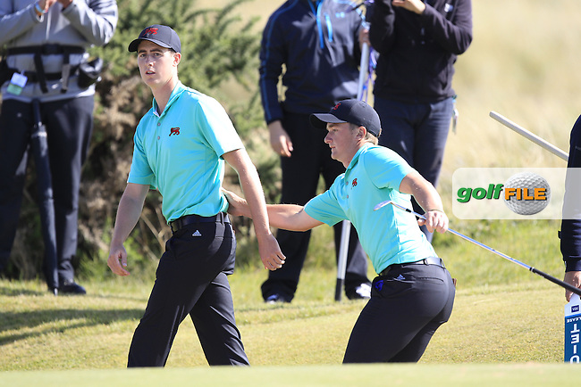 Paul Dunne (IRL) hanging out of Gary Hurley (IRL) during the sunday morning foursomes for the Walker Cup, Royal Lytham St Annes, Lytham St Annes, Lancashire, England. 13/09/2015<br /> Picture Golffile | Fran Caffrey<br /> <br /> <br /> All photo usage must carry mandatory copyright credit (&copy; Golffile | Fran Caffrey)