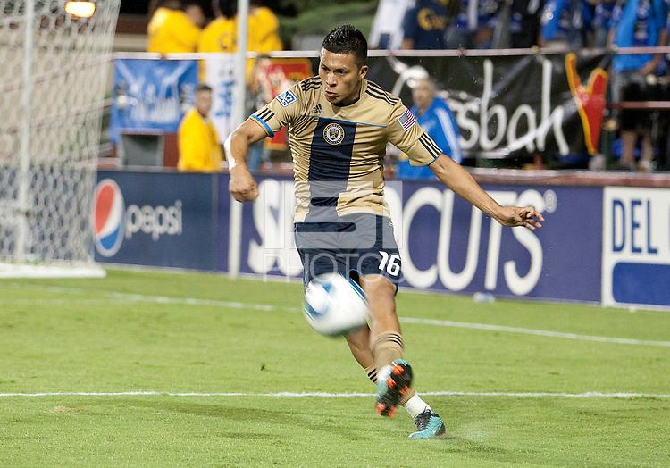 Michael Orozco Fiscal kicks the ball. The San Jose Earthquakes defeated the Philadelphia Unioin 1-0 at Buck Shaw Stadium in Santa Clara, California on September 15th, 2010.