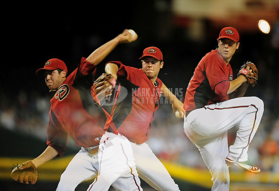 Apr. 3, 2012; Phoenix, AZ, USA; (Editors note: Multiple exposure image) Arizona Diamondbacks pitcher Tyler Skaggs throws in the fourth inning against the Milwaukee Brewers during a spring training game at Chase Field.  Mandatory Credit: Mark J. Rebilas-