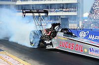 Sept. 22, 2012; Ennis, TX, USA: NHRA top fuel dragster driver Chris Karamesines during qualifying for the Fall Nationals at the Texas Motorplex. Mandatory Credit: Mark J. Rebilas-US PRESSWIRE