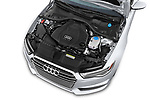 Car stock 2016 Audi A6 Competition 4 Door Sedan engine high angle detail view