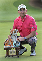 02 DEC 12  Graeme McDowell with the distinctive winners Tiger trophy at the conclusion of Sunday's Final Round of The Tiger Woods World Challenge at The Sherwood Country Club in Westlake Village, California. McDowell went on to a 3 stroke victory over Keegan Bradley.<br />