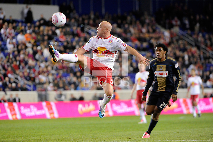 Luke Rodgers (9) of the New York Red Bulls looks to control a ball during a Major League Soccer (MLS) match against the Philadelphia Union at Red Bull Arena in Harrison, NJ, on October 20, 2011.