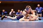 CLEVELAND, OH - MARCH 10: Jordan Newman, of Wisconsin-Whitewater, top, wrestles Tyler Lutes, of Wartburg, in the 184 weight class during the Division III Men's Wrestling Championship held at the Cleveland Public Auditorium on March 10, 2018 in Cleveland, Ohio. (Photo by Jay LaPrete/NCAA Photos via Getty Images)