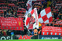 Liverpool fans on the Kop show their support<br /> <br /> Photographer Richard Martin-Roberts/CameraSport<br /> <br /> UEFA Champions League Group C - Liverpool v Napoli - Tuesday 11th December 2018 - Anfield - Liverpool<br />  <br /> World Copyright © 2018 CameraSport. All rights reserved. 43 Linden Ave. Countesthorpe. Leicester. England. LE8 5PG - Tel: +44 (0) 116 277 4147 - admin@camerasport.com - www.camerasport.com