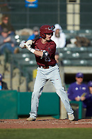 Matt Cuppari (23) of the Saint Joseph's Hawks at bat against the Western Carolina Catamounts at TicketReturn.com Field at Pelicans Ballpark on February 23, 2020 in Myrtle Beach, South Carolina. The Hawks defeated the Catamounts 9-2. (Brian Westerholt/Four Seam Images)