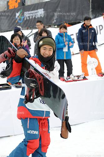 Raibu Katayama (JPN), FEBRUARY 14, 2016 - Snowboarding : Raibu Katayama of Japan reacts during the FIS World Cup men's snowboard halfpipe in Sapporo, Japan. (Photo by Hiroyuki Sato/AFLO)